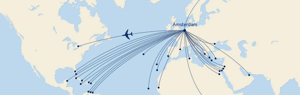 vliegtijd naar verschillende bestemmingen